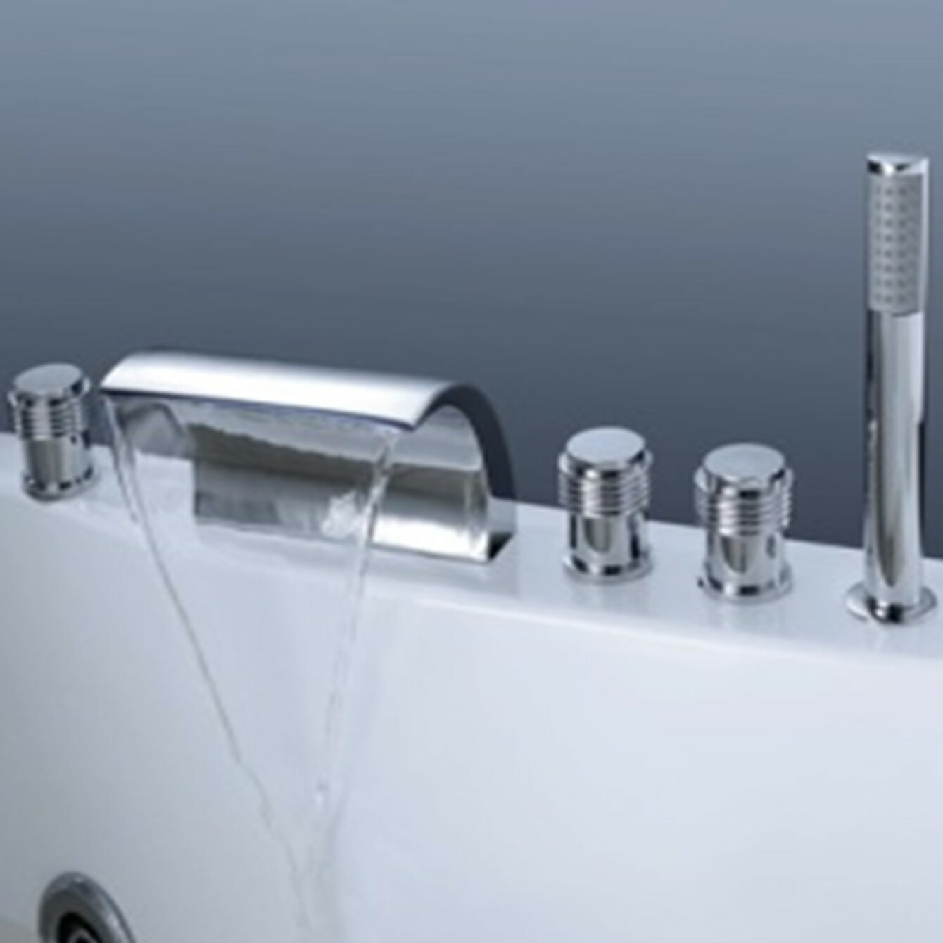 Della Triple Handle Deck Mounted Roman Tub Faucet With Hand Shower