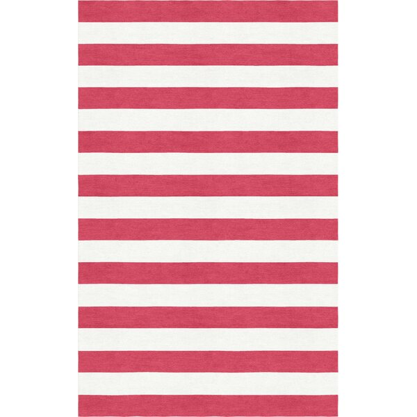 Rauseo Stripe Hand-Tufted Wool Red/White Area Rug by Latitude Run