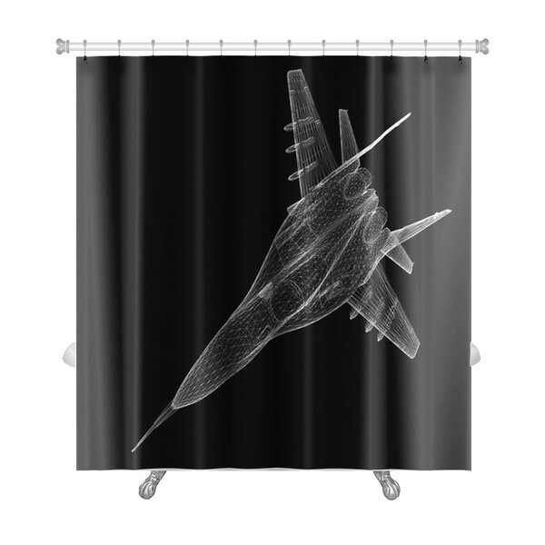 Aircraft Fighter Plane Model, Body Structure, Wire Model Premium Shower Curtain by Gear New