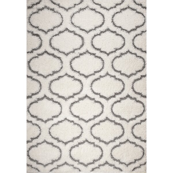 Quaoar White Trellis Area Rug by Wrought Studio
