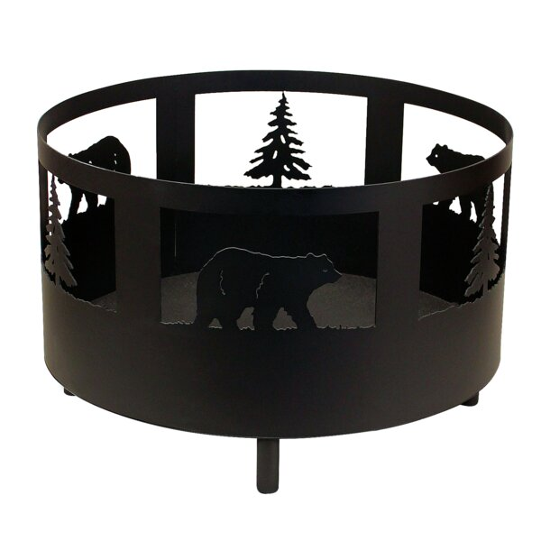 Bear and Tree Scene Metal Wood Burning Fire Pit by Coast Lamp Mfg.