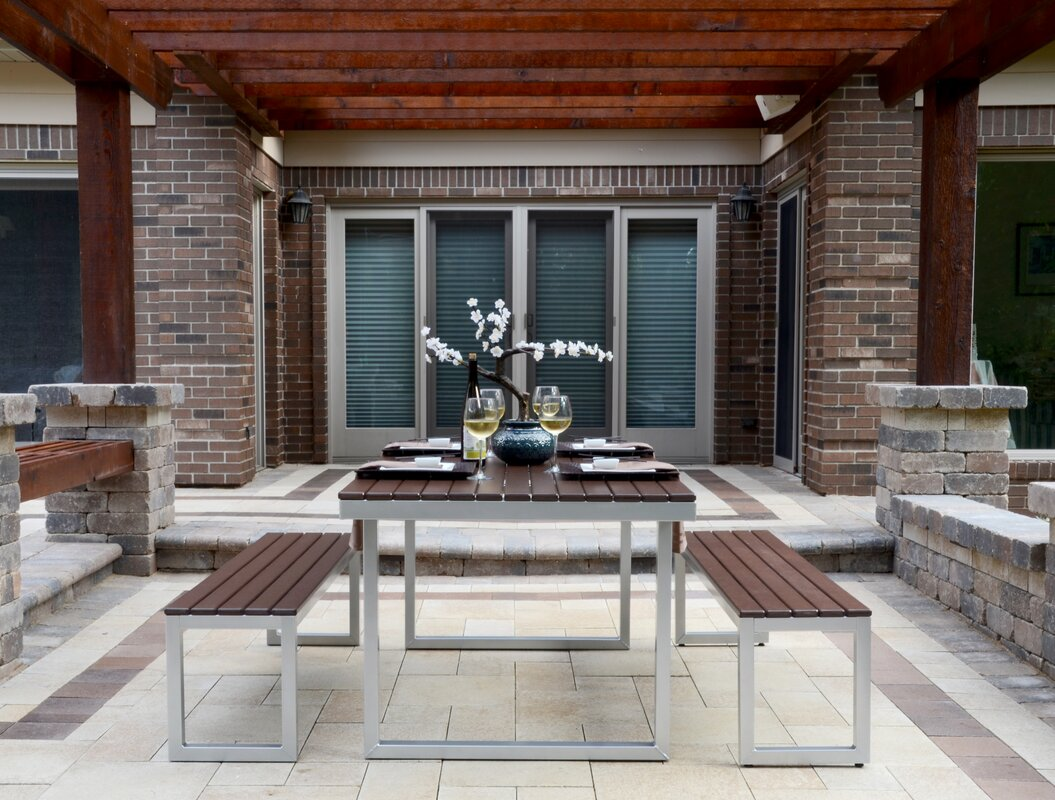 Elan Furniture Kinzie Outdoor Modern 3 Piece Dining Set Reviews Wayfair