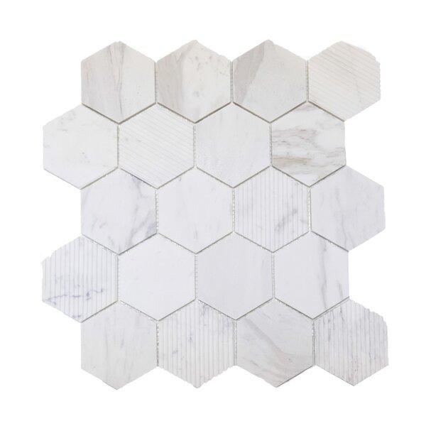 Hex Honeycomb 3 x 3 Mosaic Tile in Bianco Dolomite by Ephesus Stones