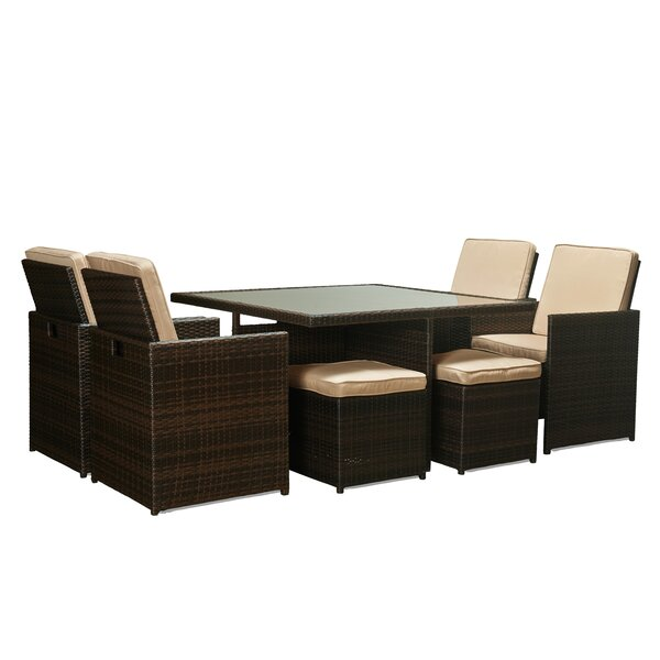 Tabarez 9 Piece Dining Set with Cushions by Brayden Studio