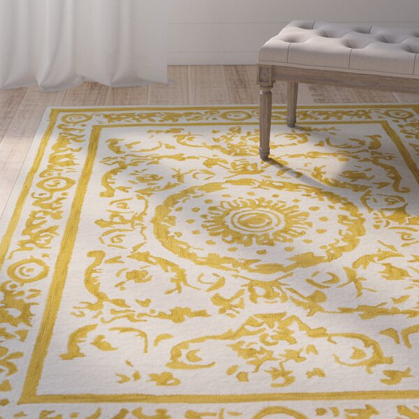 Clermont Hand-Tufted Mustard/Cream Area Rug by Lark Manor