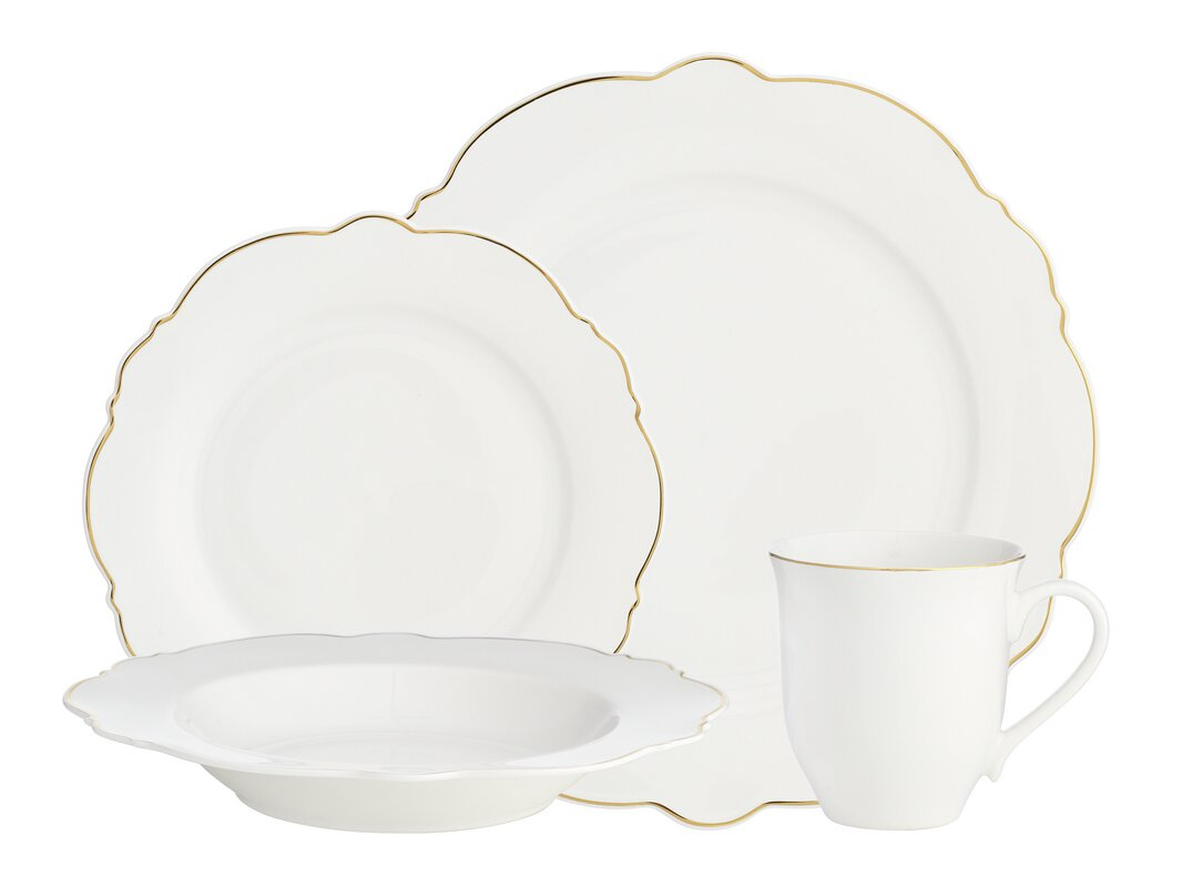 Bristol Scallop 16 Piece Dinnerware Set, Service for 4