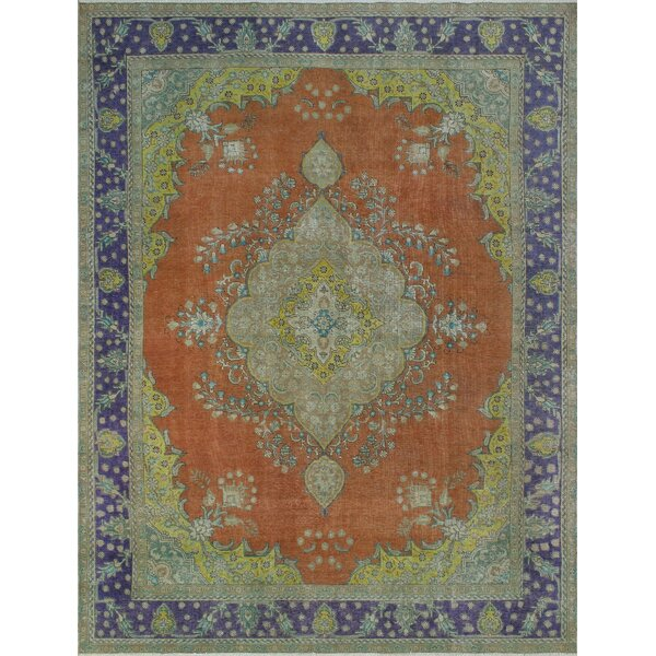 Caroll Vintage Distressed Overdyed Hand Knotted Wool Rust Area Rug by Bloomsbury Market