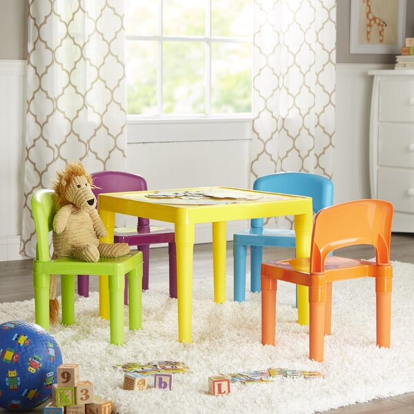Jabari Kids 5 Piece Plastic Table and Chair Set by