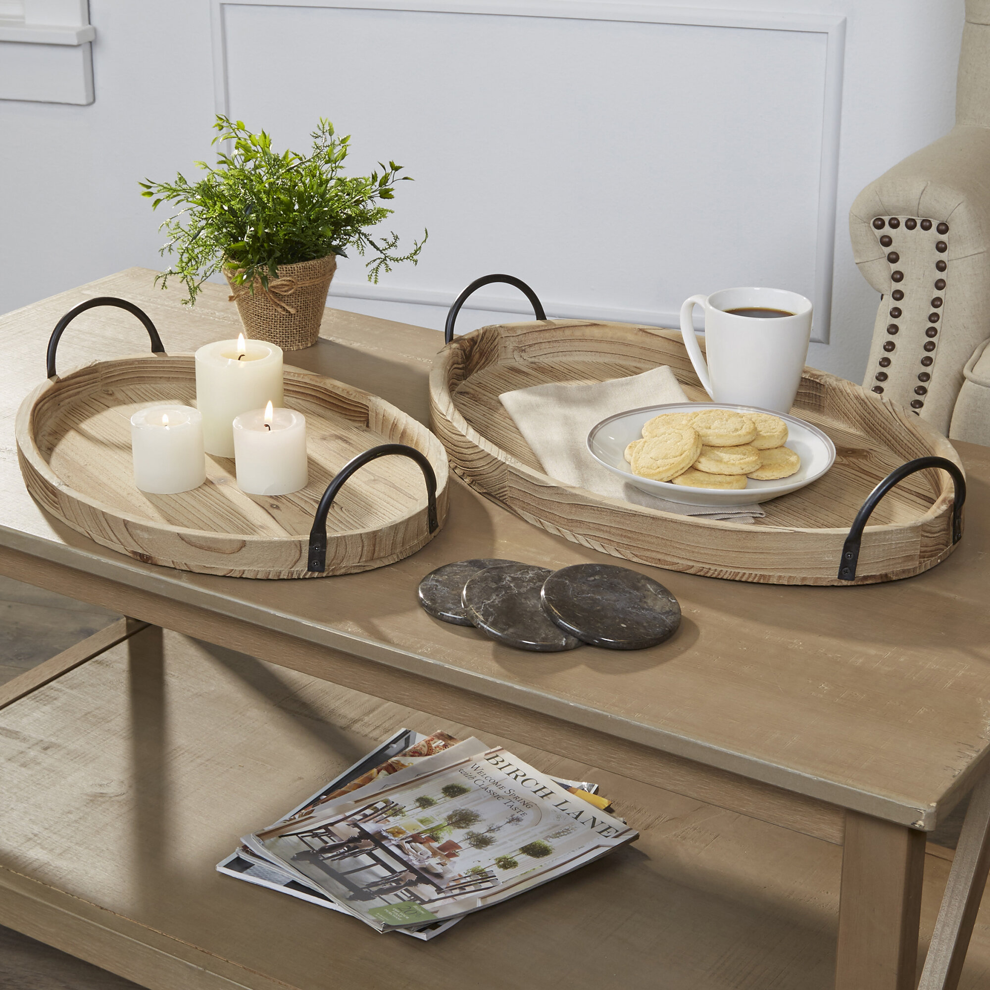 Paull 2 Piece Coffee Table Tray Set