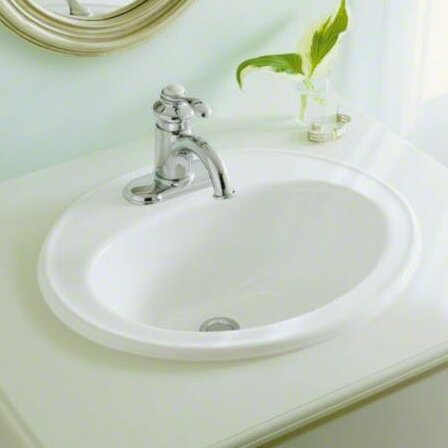 Pennington Ceramic Oval Drop-In Bathroom Sink with Overflow by Kohler