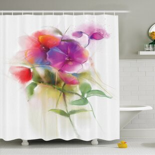 Watercolor Flower Home Blooming Orchid Spring Bouquet Romance Natural Beauty Fragrance Shower Curtain Set By Ambesonne