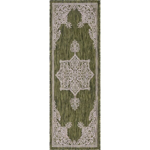Crabill Green/Gray Indoor/Outdoor Area Rug by Charlton Home