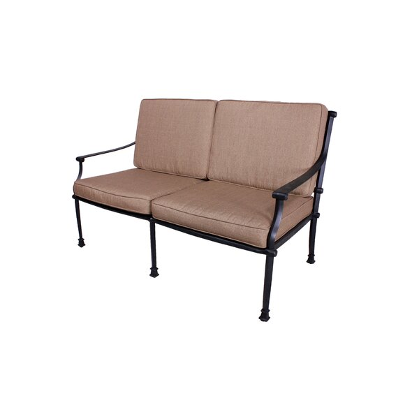 Elzada Deep Seating Loveseat with Sunbrella Cushions by Fleur De Lis Living