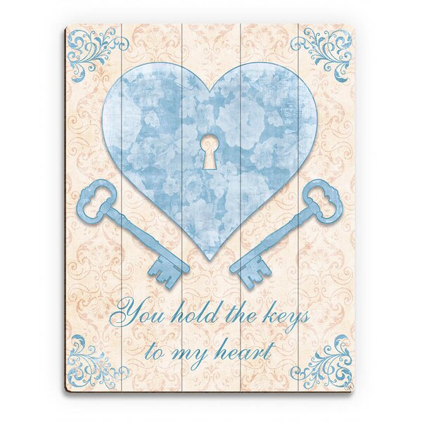 Keys to My Heart Blue Graphic Art on Plaque by Click Wall Art
