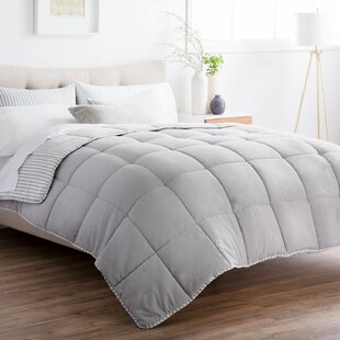 Striped Reversible Chambray All Season Down Alternative Comforter Set