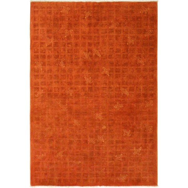 One-of-a-Kind Amari Overdyed Color Reform Hand-Knotted Wool Rust Area Rug by Bungalow Rose