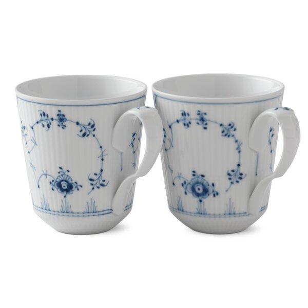 Blue Fluted Plain 12.5 oz. Mugs (Set of 2) by Royal Copenhagen