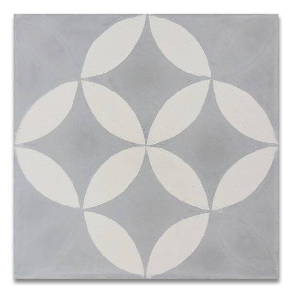 Amlo 8 x 8 Handmade Cement Tile  in Gray/White by Moroccan Mosaic