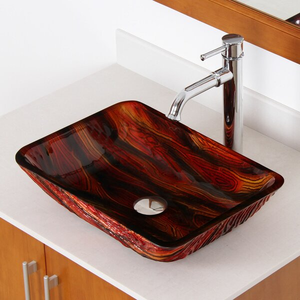 Hot Melted Contrasting Hand Painted Glass Rectangular Vessel Bathroom Sink by Elite