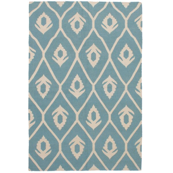 Coster Handmade Kilim Wool Turquoise Area Rug by Harriet Bee