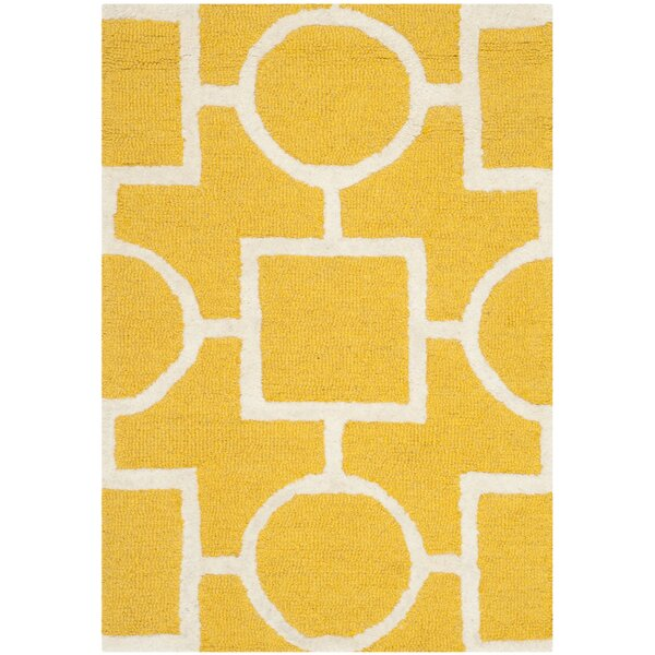 Martins Gold/Ivory Area Rug by Wrought Studio