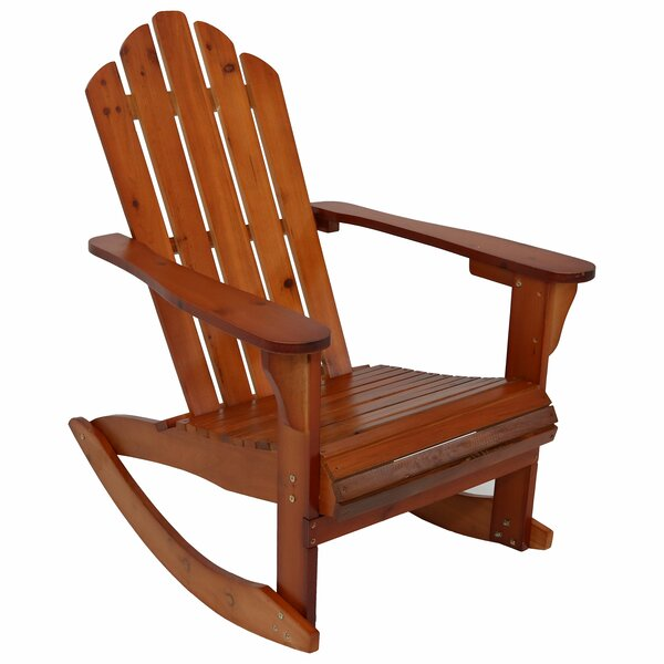 Larissa Outdoor Solid Wood Rocking Adirondack Chair by Millwood Pines