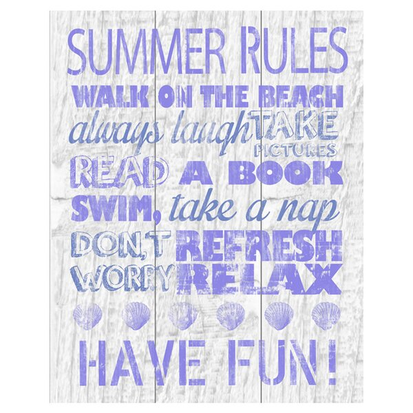Summer Rules Textual Art on Canvas by PTM