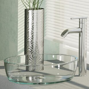 Price comparison Crystal Glass Circular Vessel Bathroom Sink with Faucet By René By Elkay