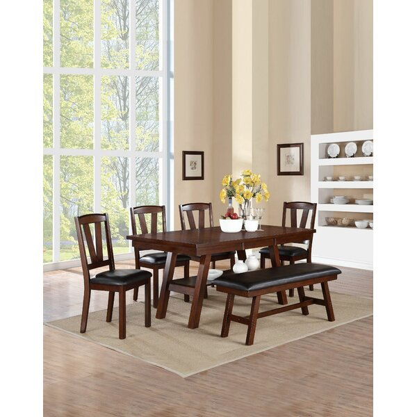 Kaneshiro 6 Piece Solid Wood Dining Set by Alcott Hill