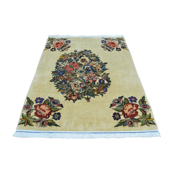 One-of-a-Kind Newquist Open Field Persian Sarouk Oriental Signed Hand-Knotted Beige Area Rug by Astoria Grand