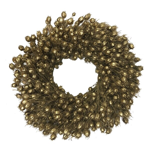 Gold Nigella Wreath by Charlton Home