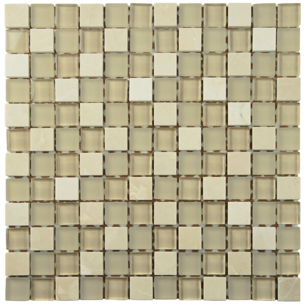 Sierra 0.88 x 0.88 Glass and Natural Stone Mosaic Tile in Sandstone by EliteTile