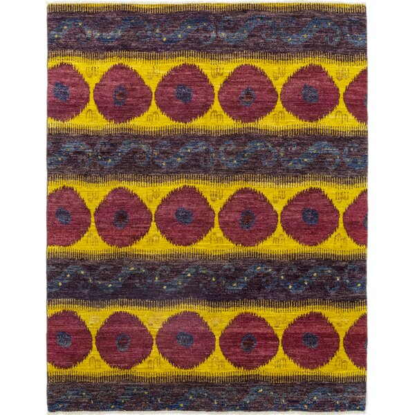 One-of-a-Kind Alex Hand-Knotted Wool Purple/Yellow Indoor Area Rug by Isabelline