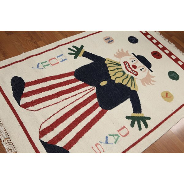 One-of-a-Kind Kilburn Dhurry Hand-Woven Beige/Black/Red Area Rug by Zoomie Kids