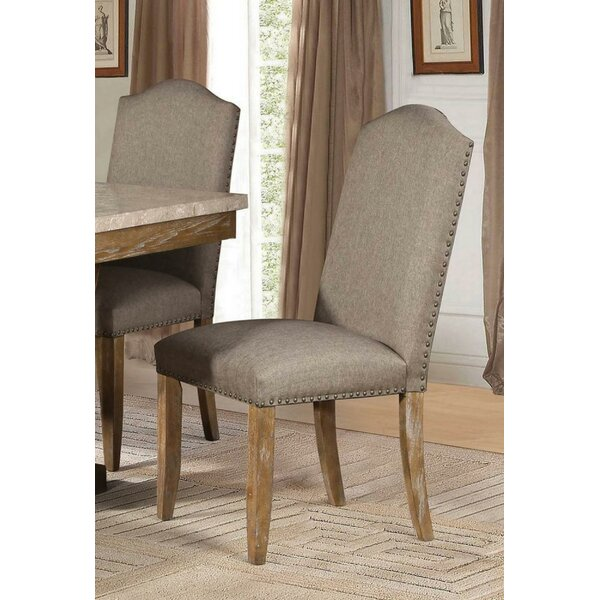 Annette Linen Upholstered Side Chair in Brown (Set of 2) by One Allium Way One Allium Way