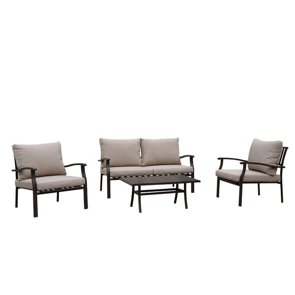 Nerstrand Outdoor 4 Piece Sofa Seating Group with Cushions by Gracie Oaks