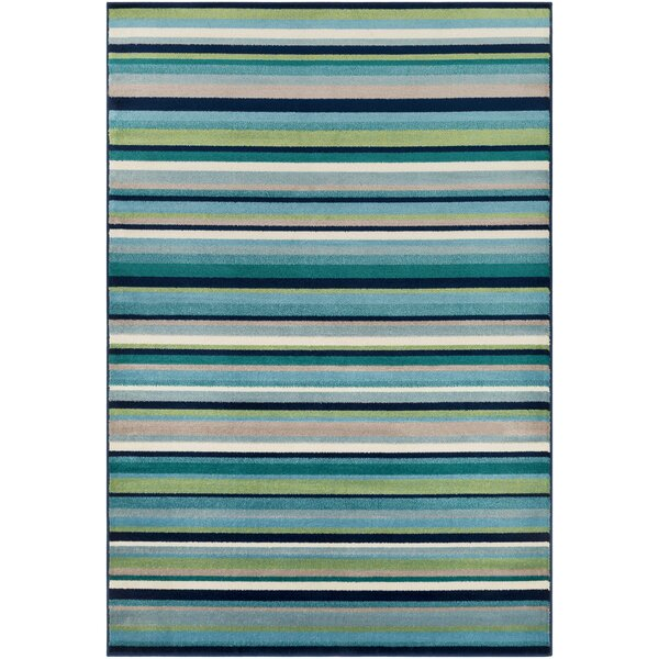 Eley Striped Teal/Grass Green Area Rug by Ebern Designs