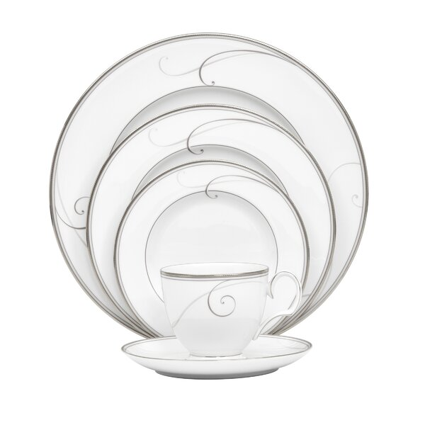 Platinum Wave 5 Piece Place Setting, Service for 1 by Noritake
