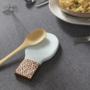 Fallston Wood & Marble Spoon Rest By Mint Pantry