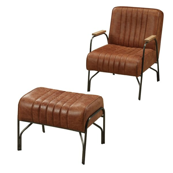 Meier Top Grain Leather Armchair And Ottoman By 17 Stories