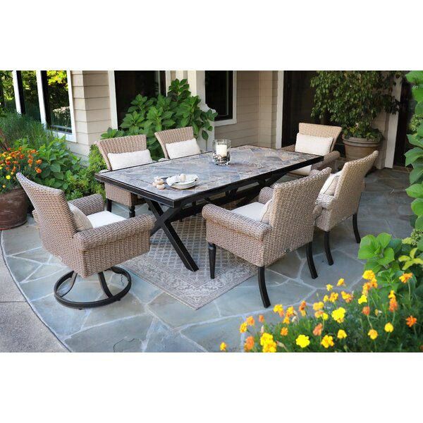 Pacific Shoreline 7Piece Dining Set with Sunbrella Cushions by Bayou Breeze