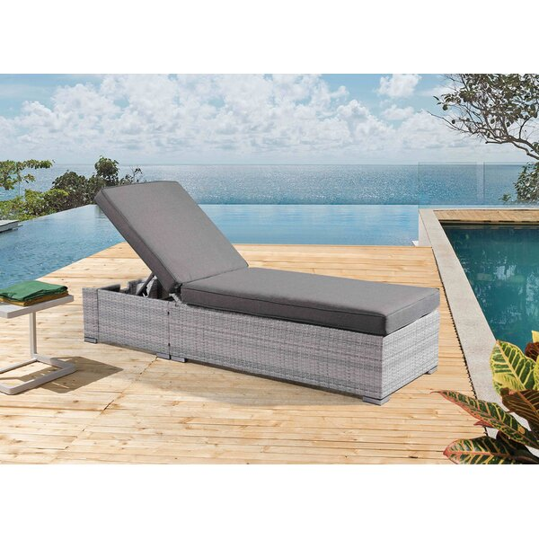 Bottrell Wicker Patio Chaise Lounger with Cushion by Ivy Bronx