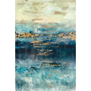 'Teal and Gold Scape' Painting Print on Canvas by East Urban Home