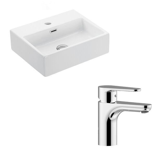 Quattro Ceramic 17 Wall Mount Bathroom Sink with Faucet and Overflow by WS Bath Collections