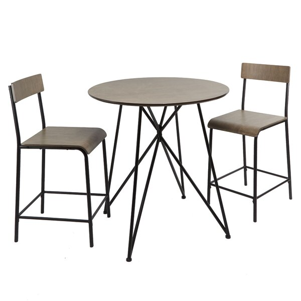 Render Metal Wood 3 Piece Dining Set by Williston Forge