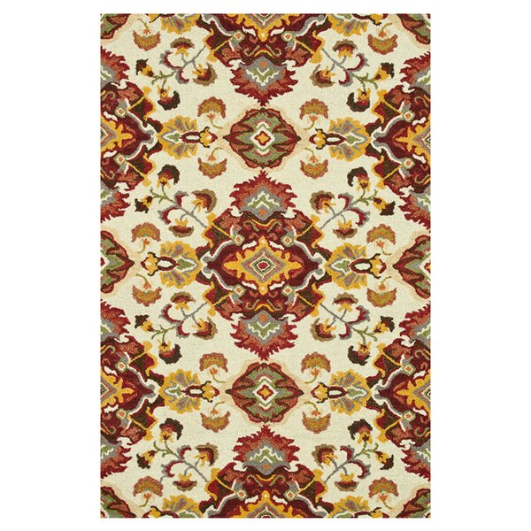 Keffer Hand-Hooked Red/Yellow Area Rug by Alcott Hill