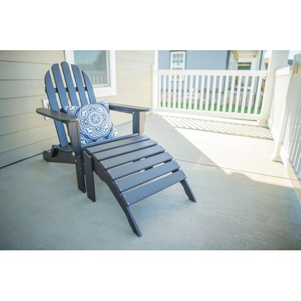 Paterson Plastic/Resin Folding Adirondack Chair with Ottoman by Rosecliff Heights Rosecliff Heights