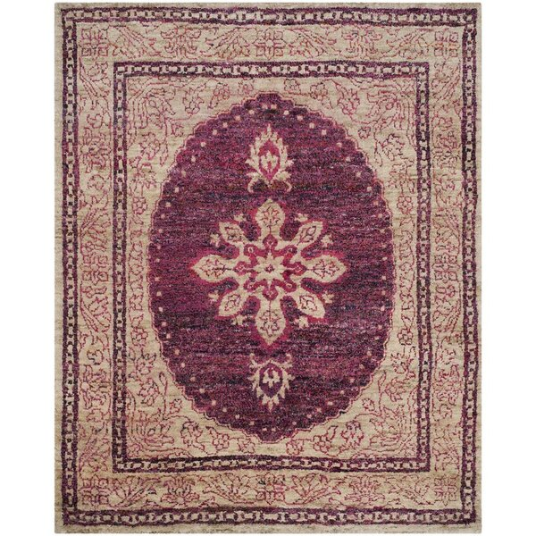 Asbury Hand-Knotted Fuchsia/Beige Area Rug by World Menagerie