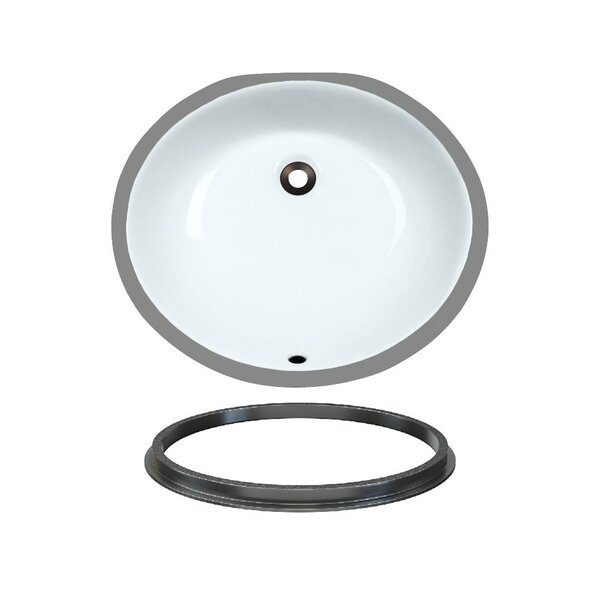 Porcelain Oval Undermount Bathroom Sink with Overflow