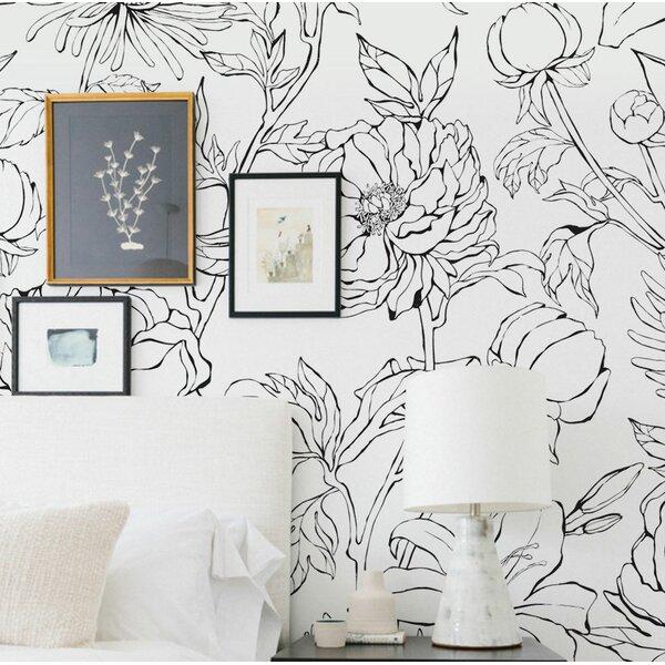 Malbon Botanical Garden Hand Drawn Flowers Art 4 Piece Peel and Stick Wallpaper Panel by Brayden Studio